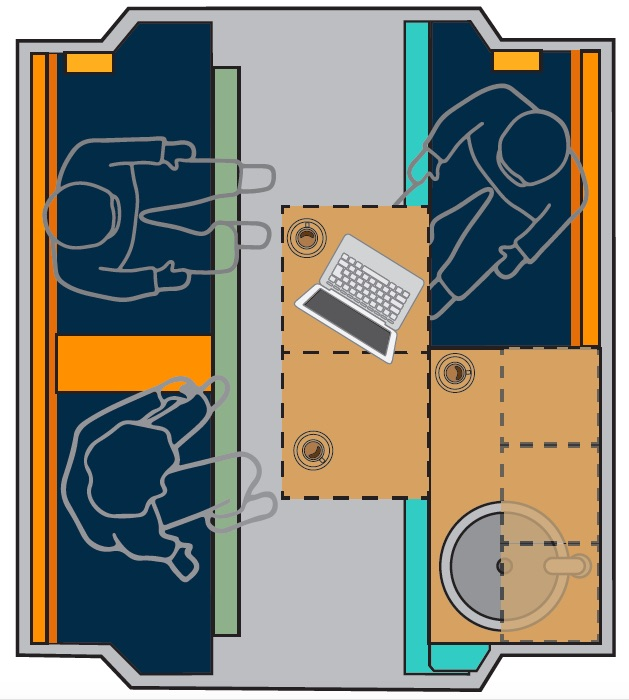 PlugVan camper module full equipment floor plan